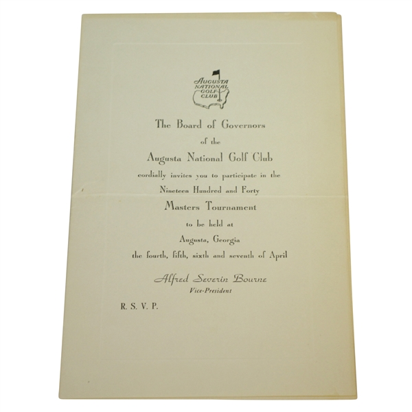1940 Augusta National Golf Club Rod Munday Masters Player Tournament Invitation - 7th Year