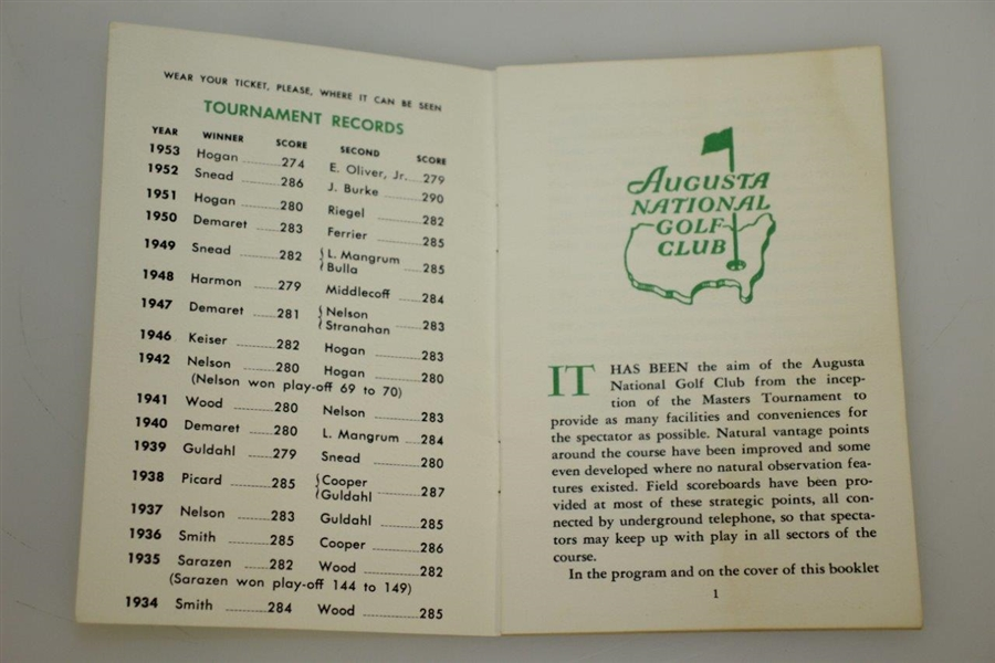 1954 Masters Tournament Spectator Guide - Sam Snead Win