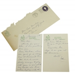 Ed Dudleys Handwritten 1957 Augusta National Stationary Letter to Rod Munday JSA ALOA