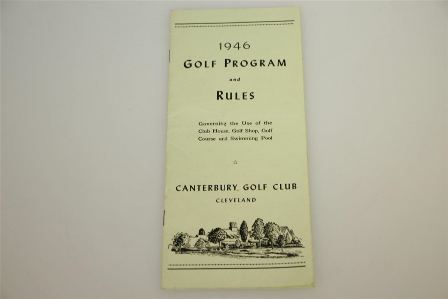 1946 US Open Contestant Packet w/ Souvenir Rules Booklet - Lloyd Mangrum Wins