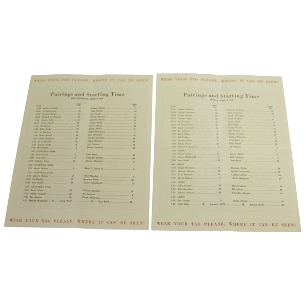 1946 Masters Tournament Thursday & Friday Pairing Sheets - Herman Keiser Win