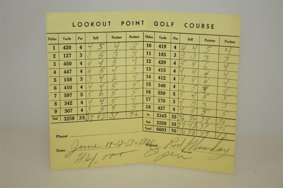 Rod Munday's 1936 Open Golf Tournament at Lookout Point Golf Course in Canada Scorecard