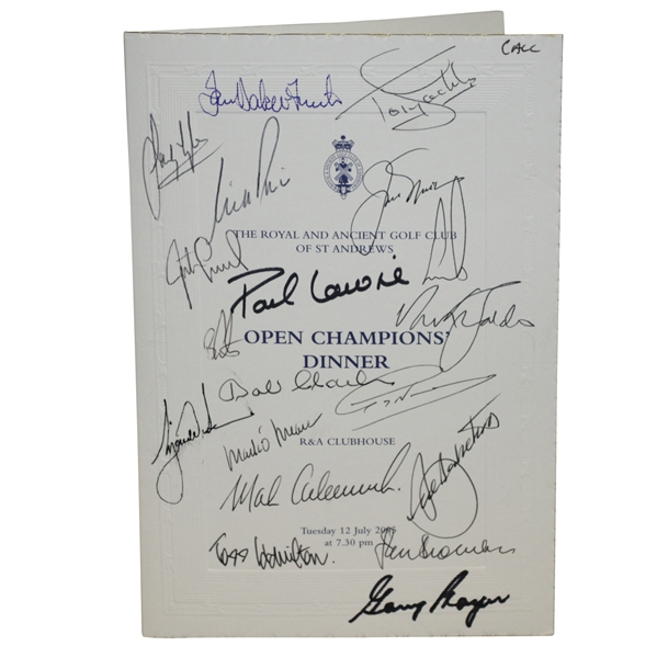 Mark Calcavecchia's 2005 OPEN Champions Dinner Menu Signed by Past Winners JSA ALOA