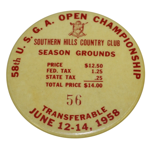 1958 US Open Championship at Southern Hills Season Grounds Pass #56 - Tommy Bolt Winner!