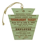 1951 PGA Championship at Oakmont C.C. Employee Series Ticket - Sam Snead Win