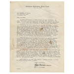 Augusta Nat. Letterhead Dated 1935 - G.M. PJA Berckmans to Course Engineer w/Significant Turf Content JSA ALOA