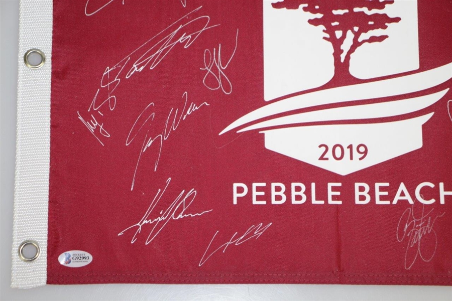 2019 US Open at Pebble Beach Field Signed Flag Beckett #G92993