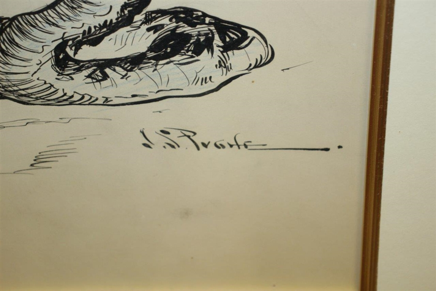 Circa 1901 Original Pen & Ink On Board Illustration of Ostrich, Snake & Monkey At 3rd Hole By J.S. Pughe