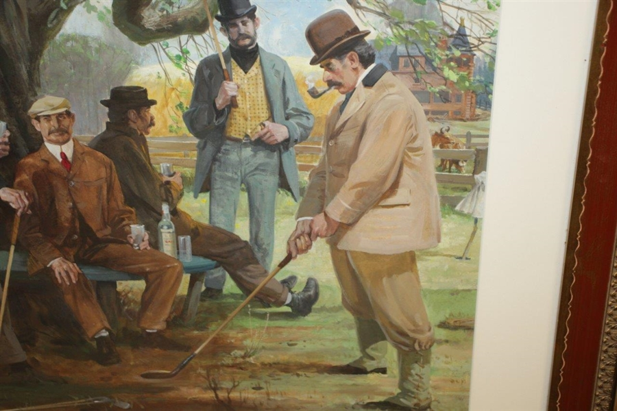 Original 'The Old Apple Tree Gang' by Leland R. Gustavson Watercolor Painting