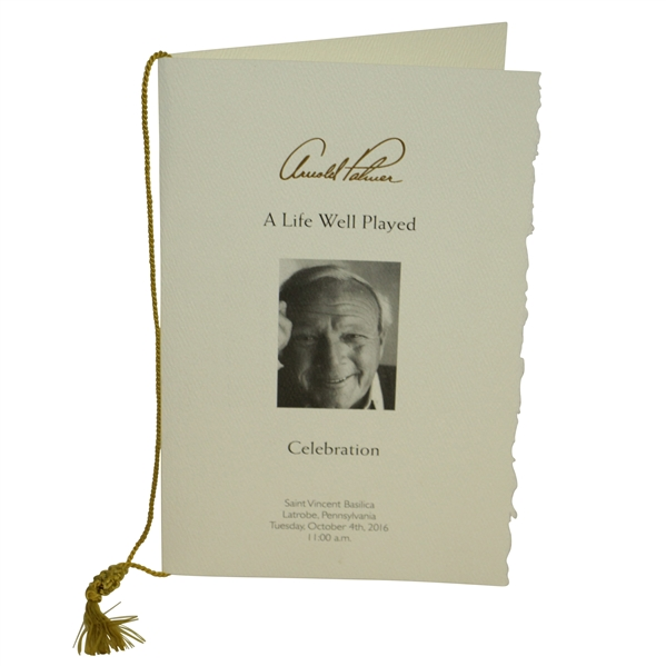 Arnold Palmer Memorial 'A Life Well Played' Funeral Service Program with Original String