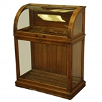 Vintage Golden Oak Curved Glass Golf Club Display Case
