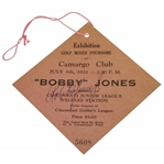 Bobby Jones Signed 1931 Exhibition at Camargo Club Ticket JSA Full #Z98914 - Excellent Condition