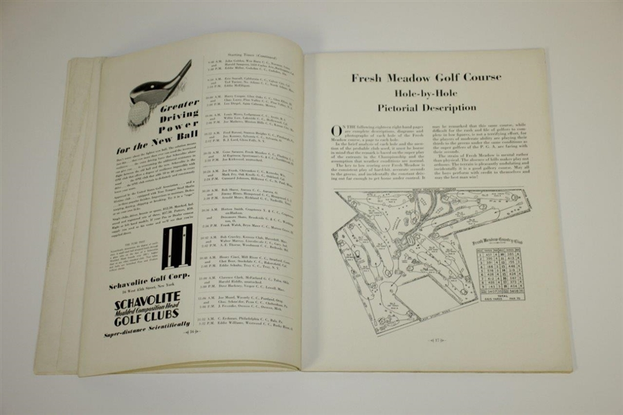 1930 PGA Championship at Fresh Meadow CC Program Won by Tommy Armour - Rare