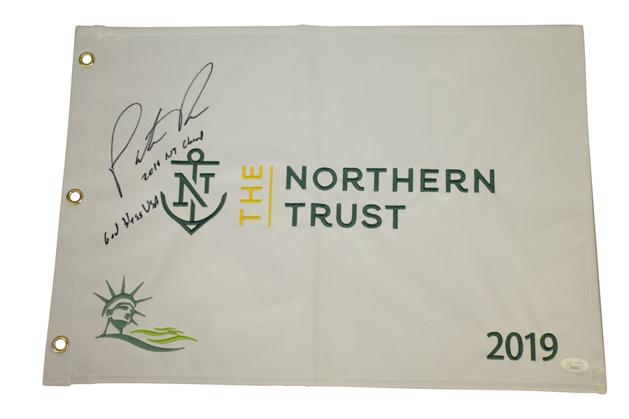 Patrick Reed Signed & Inscribed 2019 Nothern Trust Embroidered Flag JSA #EE39760