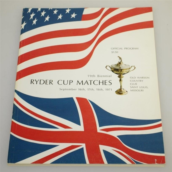 1971 The Ryder Cup at Old Warson Country Club Program & Pairing Sheets