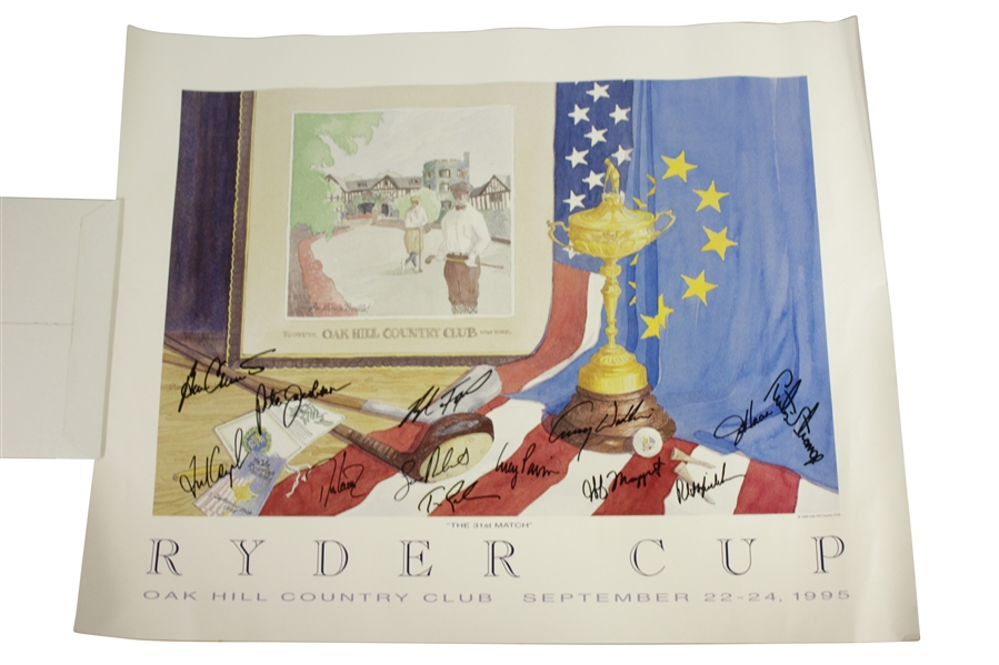 1995 Ryder Cup at Oak Hill Country Club Team USA Signed Poster JSA ALOA
