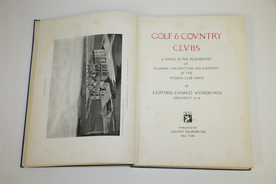 1929 Golf & Country Clubs Book by Architect Clifford Charles Wendehack