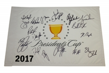 2017 Presidents Cup US Team Signed Flag w/ Woods, Koepka, Mickelson, Spieth & Others JSA ALOA