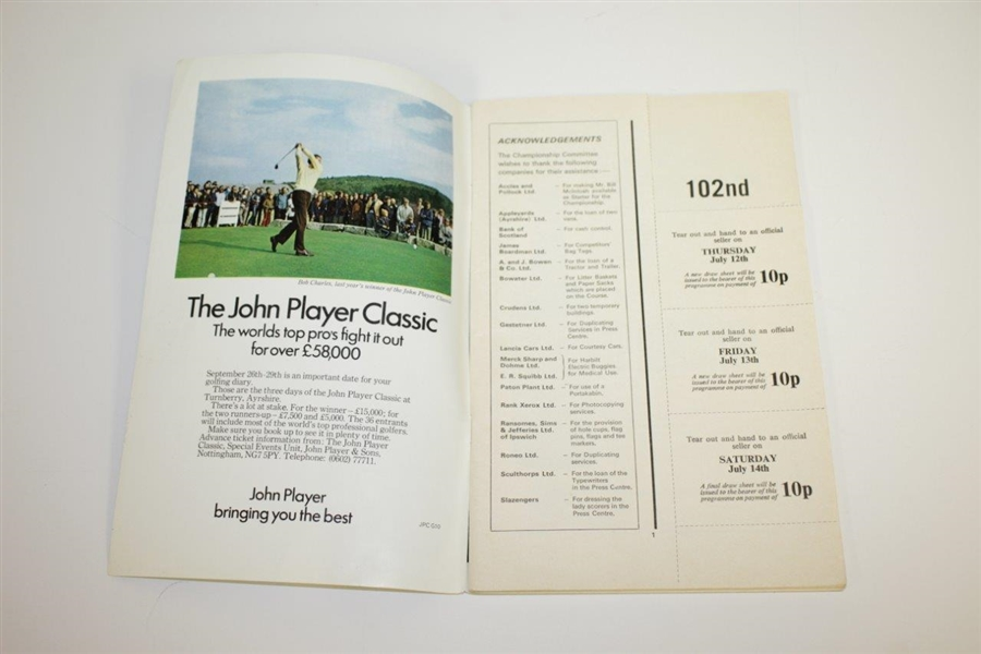 Arnold Palmer Signed 1973 OPEN Championship at Old Troon Program JSA ALOA