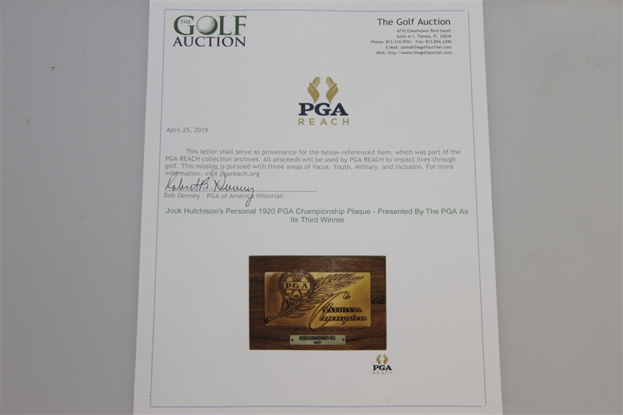 Jock Hutchison's Personal 1920 PGA Championship Plaque - Presented By The PGA As Its Third Winner