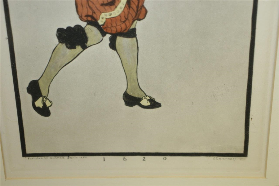 '1620' Golfer Print Circa 1955 - Hand-Colored Aqua Tint On Off-White Wove Paper By Frederick Richards