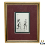 Pen Illustration Of Two 18th Century Gentlemen Playing Golf / Croquet