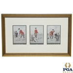 Edmund G. Fullers Old Time Cartoon Prints in One Frame - The First Drive, Fore & Entitled To See The Ball
