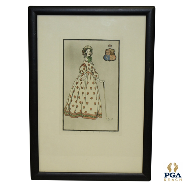 1840 Woman And Club w/ Crest Print Circa 1955