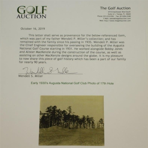 Early 1930's Augusta National Golf Club Original Photo of 17th Hole