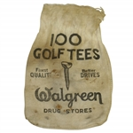 "Vintage ""Walgreen Drug Stores 100 Golf Tees"" Canvas Golf Tee Bag - Crist Collection"