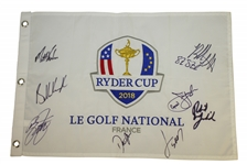 2018 Ryder Cup Flag Signed by Spieth, Fowler, Koepka & Mickelson Etc. JSA ALOA