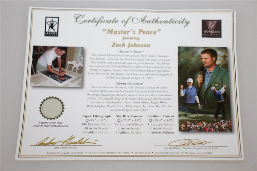 Zach Johnson Signed Ltd Ed 2007 Master's Peace #203/300 Print with Certificate JSA ALOA