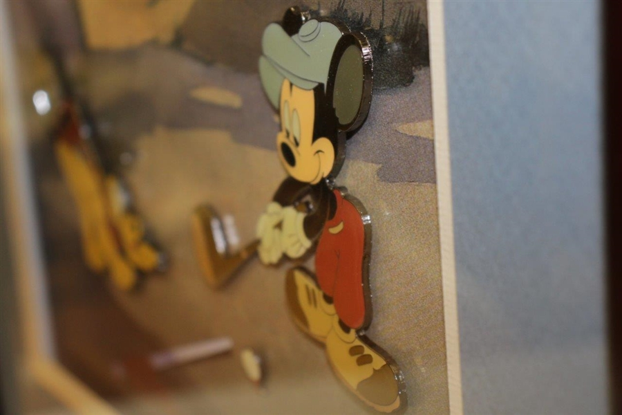 Walt Disney Mickey Mouse & Pluto Canine Caddy Ltd Ed 60th Ann. Framed Pin Set