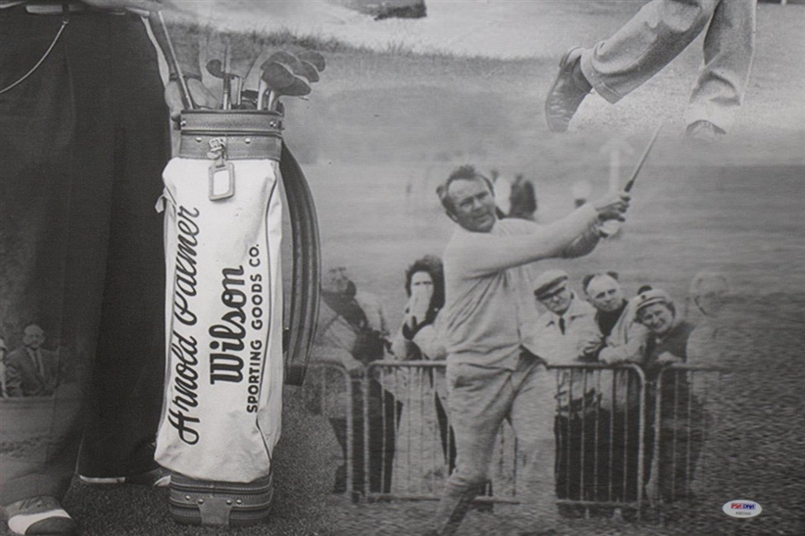 Arnold Palmer Signed Deluxe Canvas Photo Collage Display - Large Signature! PSA/DNA #AB03444