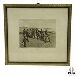 Golf by CA Fesch Featuring Time-Period Scottish Golfers on Links Course Print