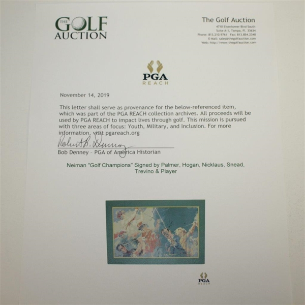 Neiman Golf Champions Signed by Palmer, Hogan, Nicklaus, Snead, Trevino & Player JSA ALOA