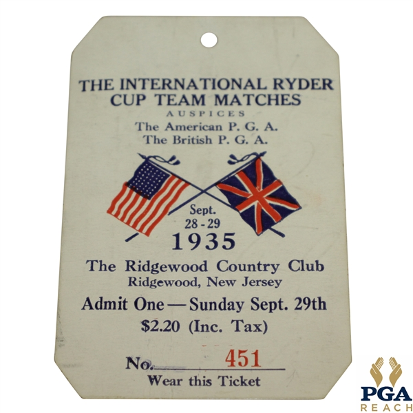 1935 Ryder Cup at Ridgewood Country Club Sunday Ticket #451 - Great Condition
