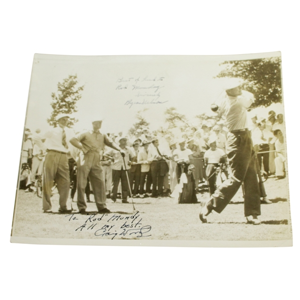 Craig Wood & Byron Nelson Signed Original Photo of the Three to Rod Munday JSA ALOA