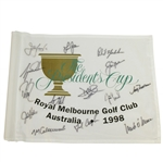 Complete Team Signed 1998 The Presidents Cup at Royal Melbourne Course Flag JSA ALOA