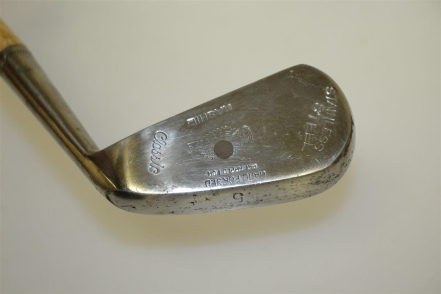 Burr Key Bilt Hand Forged Stainless Steel Mashie 5 Iron with Original Grip Cover