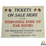 1935 Ryder Cup at Ridgewood Country Club Broadside Tickets On Sale Here - Seldom Seen