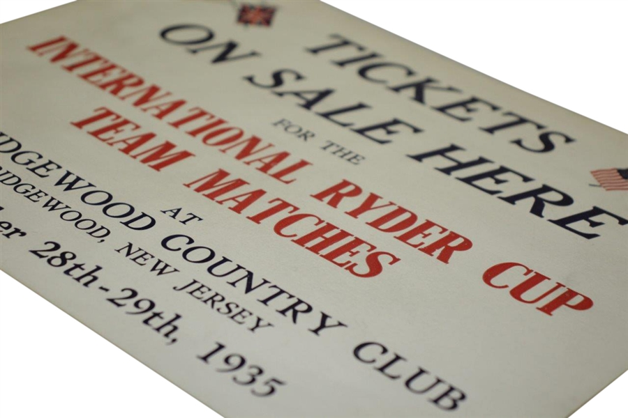 1935 Ryder Cup at Ridgewood Country Club Broadside 'Tickets On Sale Here' - Seldom Seen