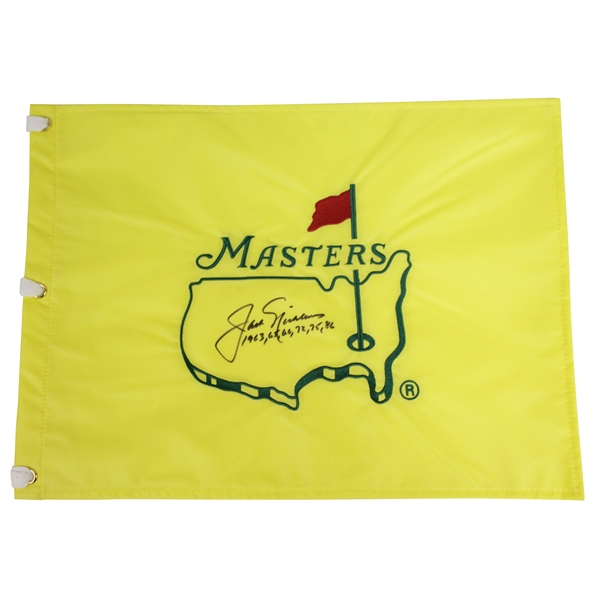 Jack Nicklaus Signed Undated Masters Flag with All Six Wins Notation JSA ALOA