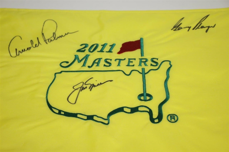 Arnold Palmer, Jack Nicklaus, & Gary Player 'Big Three' Signed 2011 Masters Flag JSA ALOA