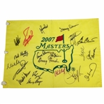 Palmer, Nicklaus, Player, & 17 Others Masters Champs Signed 2007 Masters Flag JSA ALOA