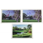 Fuzzy Zoeller, Larry Mize, & Tommy Aaron Signed Augusta National Greeting Cards JSA ALAO