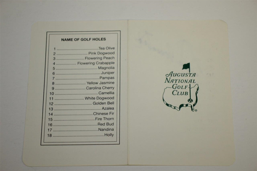 Seve Ballesteros Signed Augusta National Golf Club Scorecard JSA ALOA
