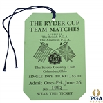 1931 Ryder Cup at The Scioto CC Friday Ticket #1002 - Pristine Unimprovable Condition - Rare