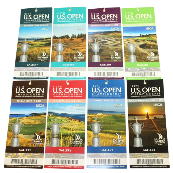 2015 US Open at Chambers Bay Full Ticket Set - Monday through Playoff - Jordan Spieth Win