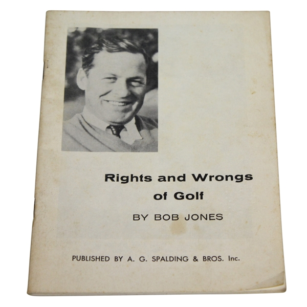 1935 Bobby Jones 'Rights and Wrongs of Golf' Booklet